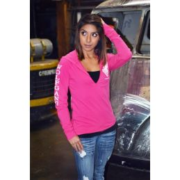 Women's Hot Pink Hooded Long Sleeve