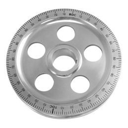 Polished Stock Size Degree Pulleys; Blue numbers w/holes
