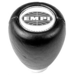 Shift Knob With Empi Logo; Black leather